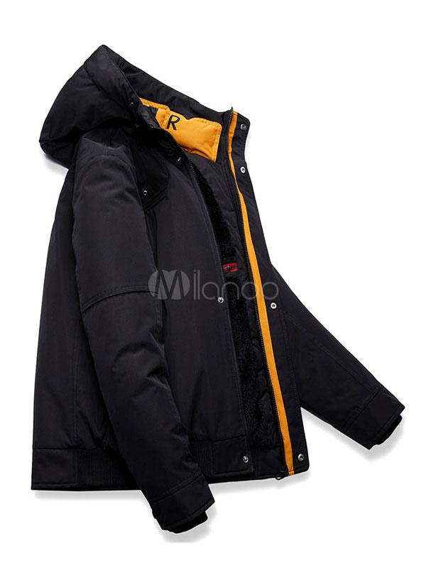low priced a4eb7 a0157 Cappotto invernale nero da uomo casual con cappuccio Parka Casual Daily