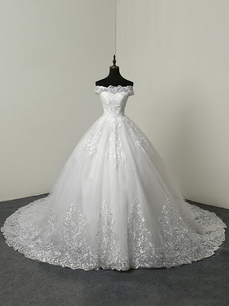 Wedding Dresses 2020 Ball Gown Off The Shoulder Short Sleeve