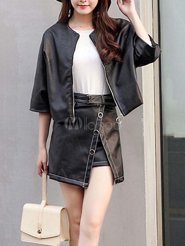 online store d8942 b10e8 Giacche corte nere Giacca casual da donna in pelle con zip intera