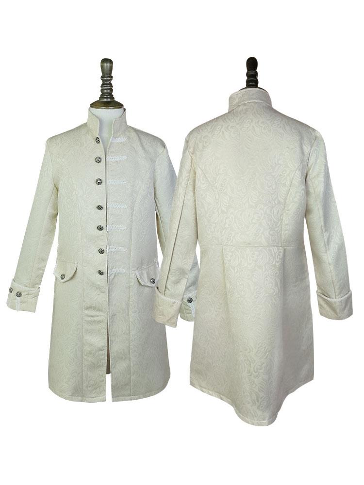 Mid Prince Herren Karneval Stehkragen Kleidung Charming Mantel Jacquard Button Retro Fasching Vintage Up Age Kostüm XPiuZkO