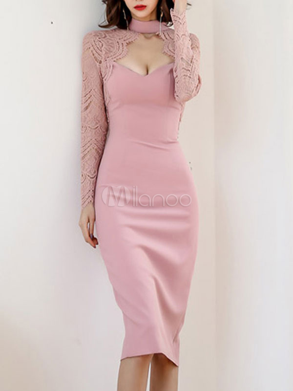 Etuikleid Rosa Kleider Polyester Im Sexyen Style Langarm Damenmode Halskragen Mit Schlitz An Der Front Fur Herbst Milanoo Com