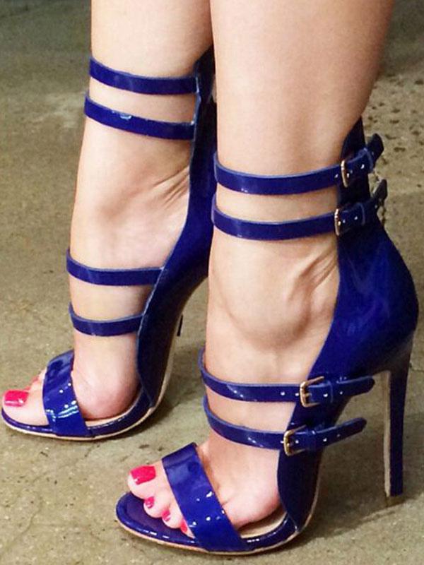 Sandalias De Mujer Tacon De Aguja Correa De Tobillo Elegante Tallas Grandes Zapatos Azules Profundos Para Oficina Fiesta Milanoo Com