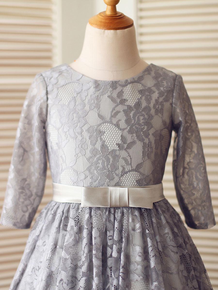 blumenmädchen kleider grau abendkleider für hochzeit spitze ärmellos  prinzessin hochzeit mit rundkragen kleid blumenmädchen knielang