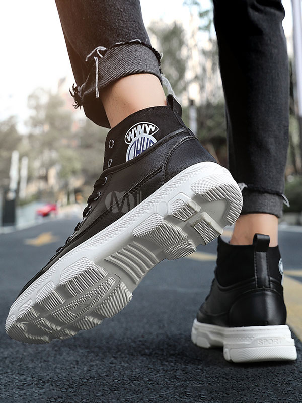 Herren High Top White Sneakers Fashion PU Leder Runde Kappe Sportschuhe