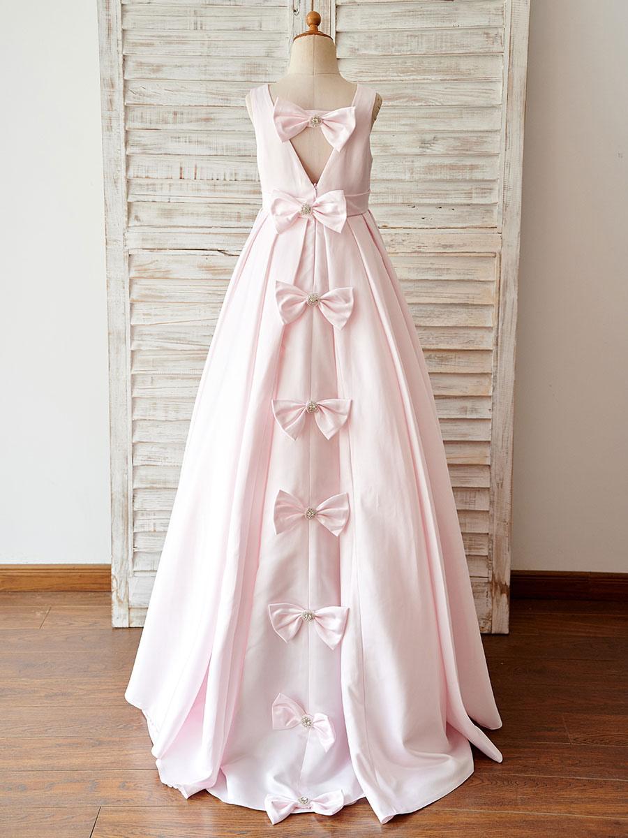 blumenmädchen kleider rosa abendkleider für hochzeit satingewebe ärmellos  prinzessin hochzeit mit rundkragen kleid blumenmädchen bodenlang