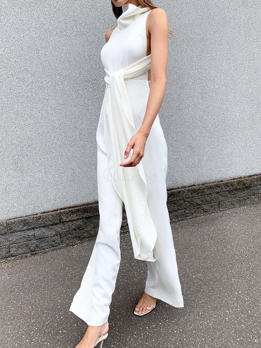 jumpsuit damen overall ärmellos halskragen geknotet weiß trompetenhose  party abendmode