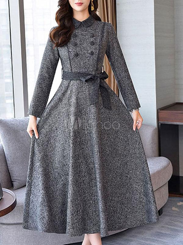 Kleid langarm grau
