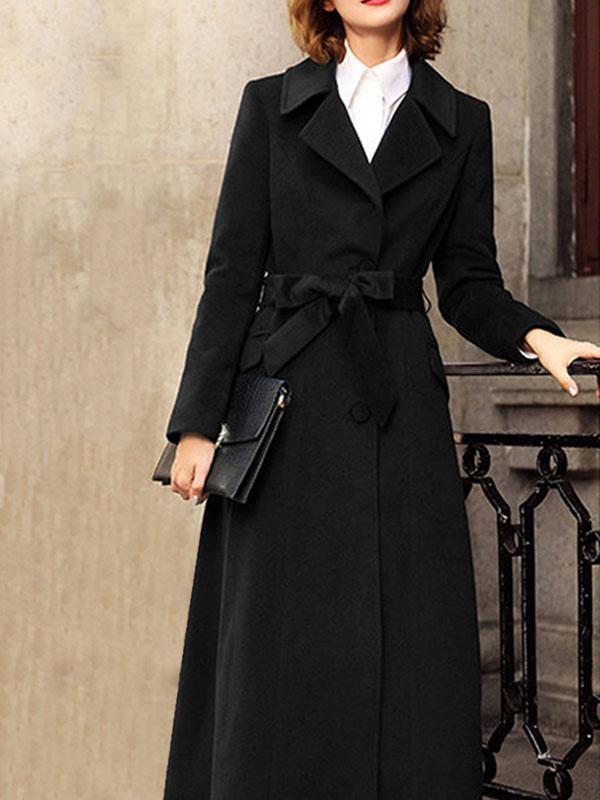 Cappotto da donna Caffè marrone Colletto rovesciato Maniche lunghe Bottoni Cappotto avvolgente casual annodato