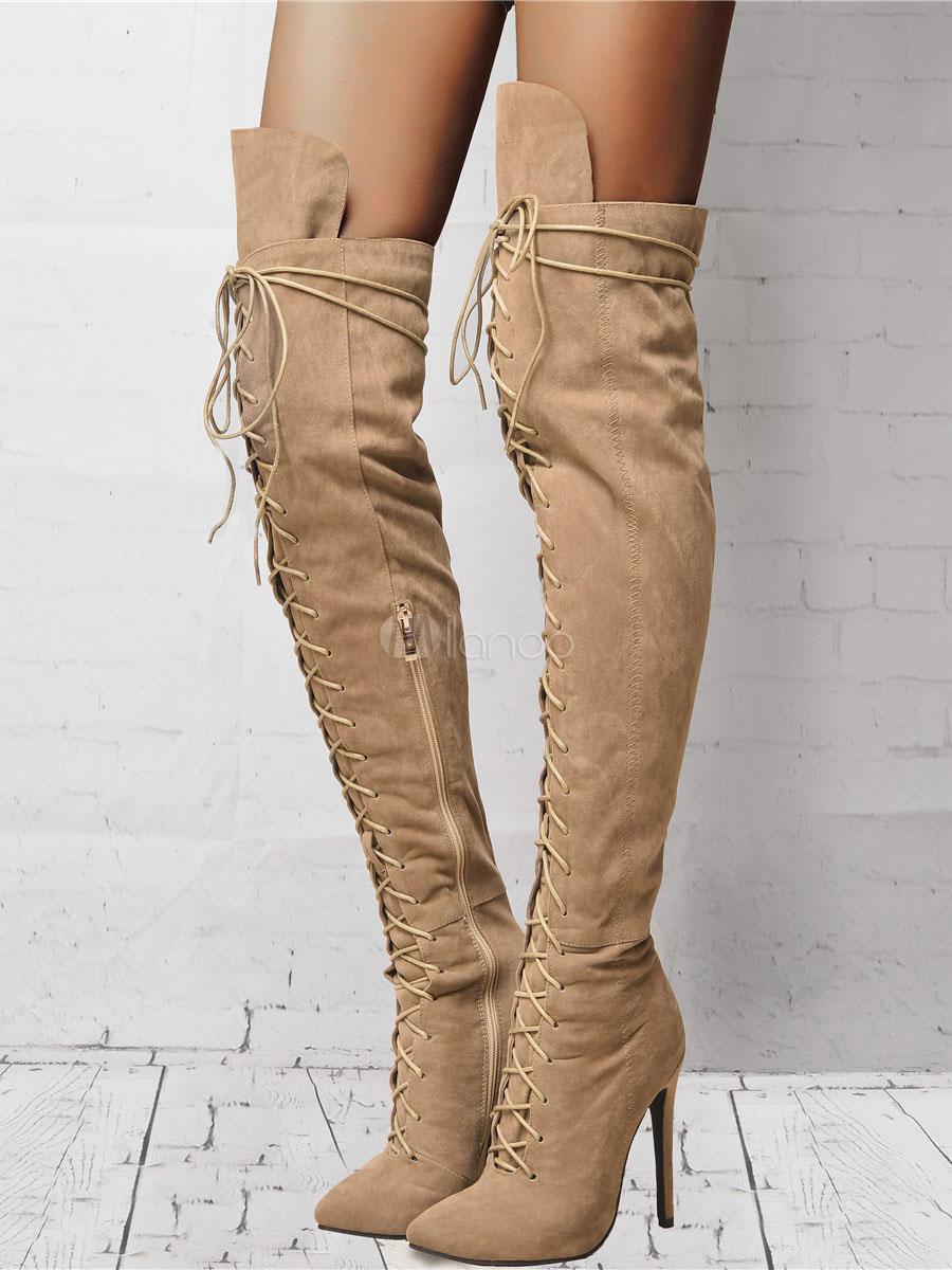 Overknee Stiefel aus Veloursleder