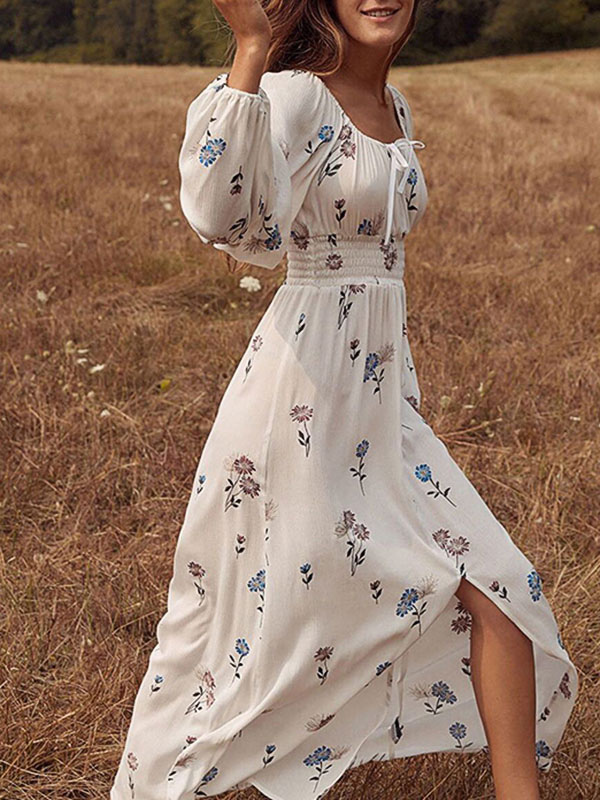 white floral maxi dress with sleeves