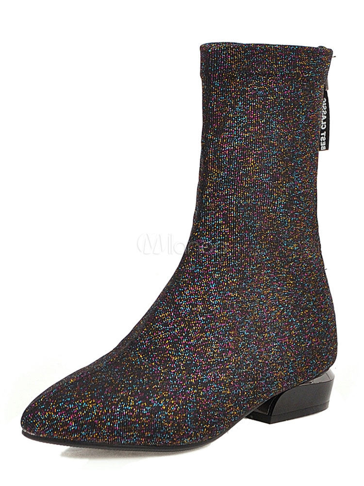 Women Ankle Boots Pointed Toe Glitter