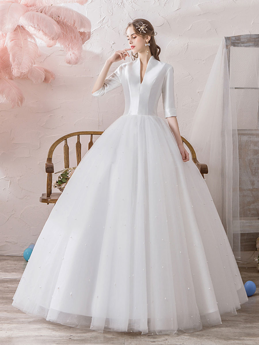 Vintage Wedding Dresses Princess High Collar Half Sleeve Floor Length Tulle Traditional Bridal Gowns Milanoo Com