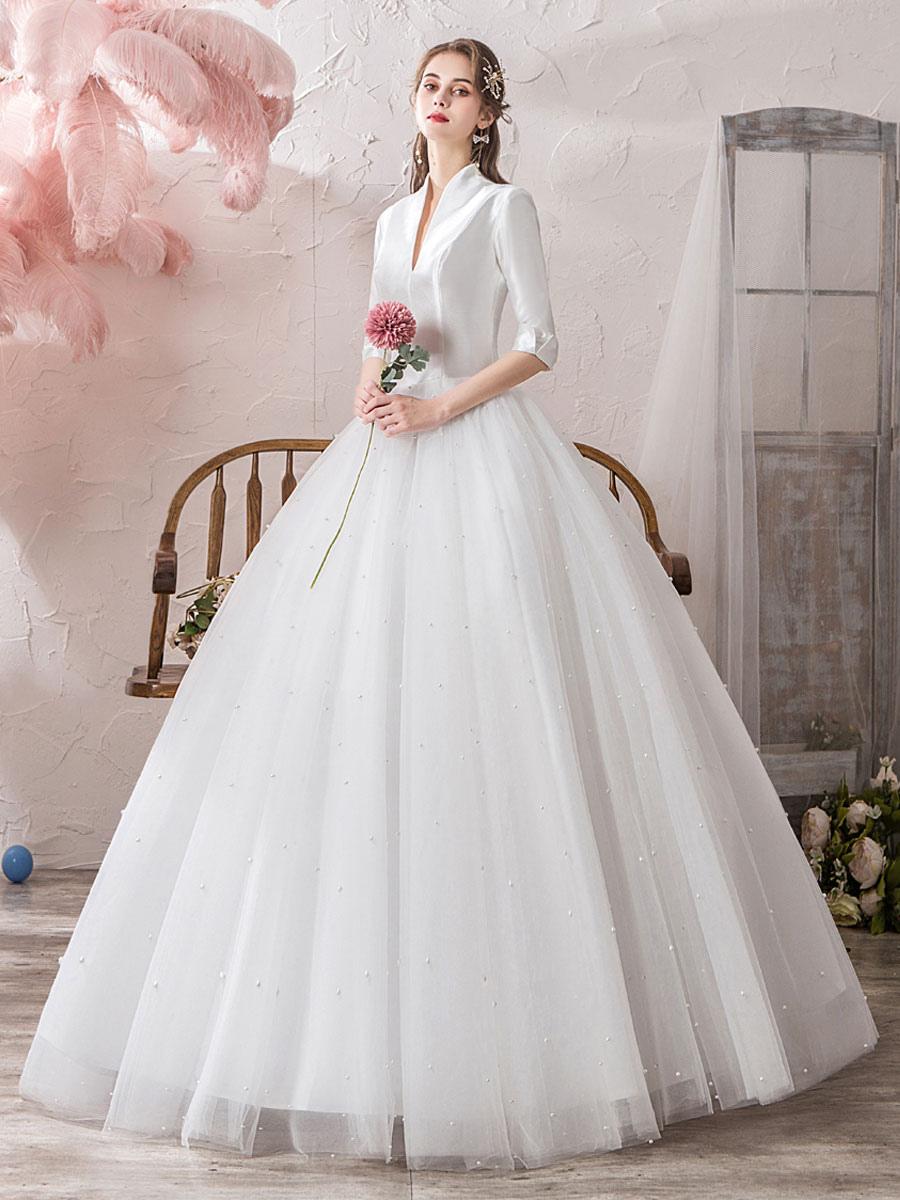 Vintage Wedding Dresses Princess High Collar Half Sleeve Floor ...