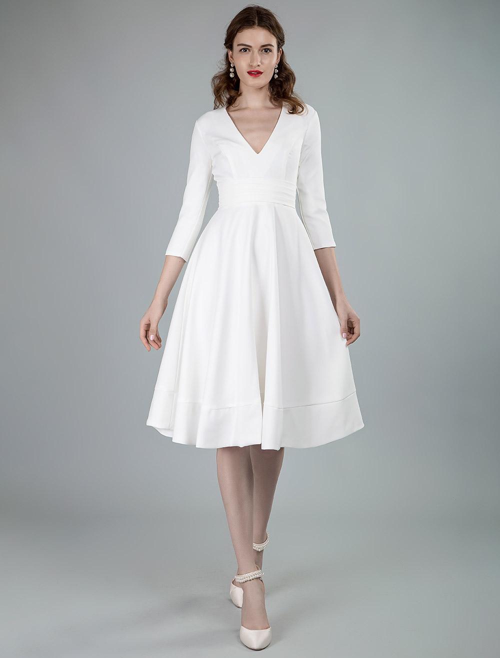 Short Wedding Dresses V Neck 3 4 Length Sleeves A Line Knee Length Bridal Dress Milanoo Com