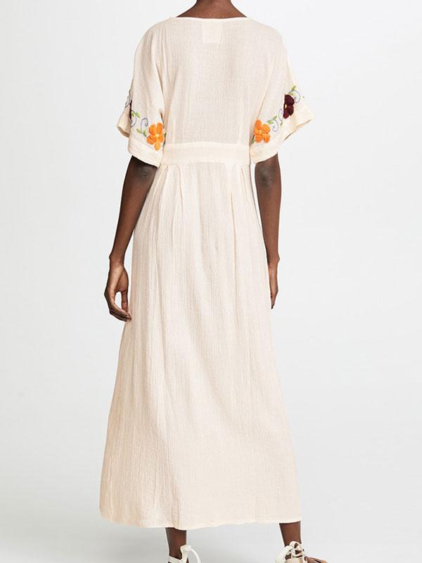 Abiti Cerimonia Hippie.White Boho Dress Embroidered V Neck Short Sleeves Hippie Dress