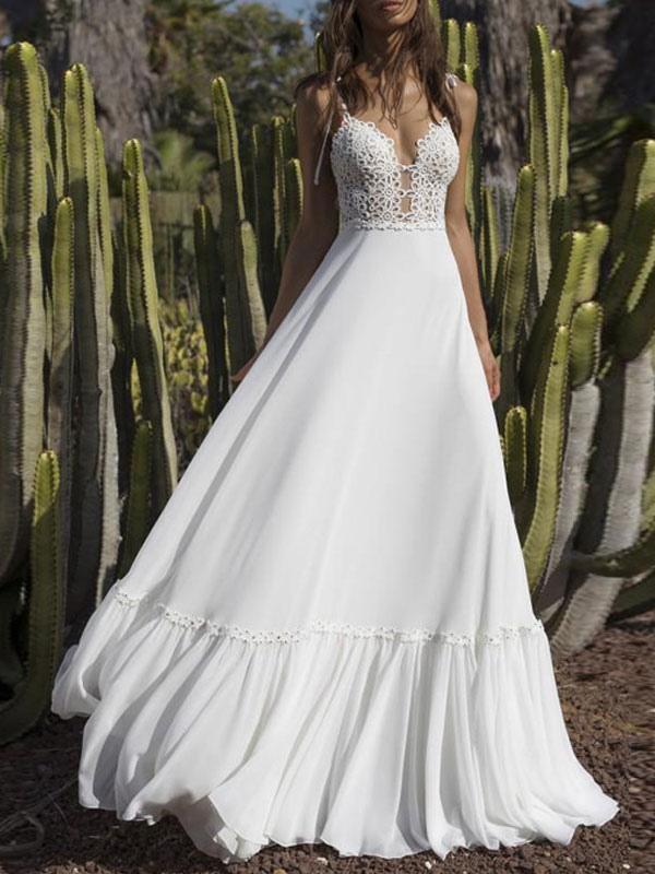 Boho Wedding Dresses 2021 Chiffon V Neck A Line Straps Sleeveless Bows Lace Bridal Gowns Ruffle Hem Bridal Dress For Beach Wedding Milanoo Com