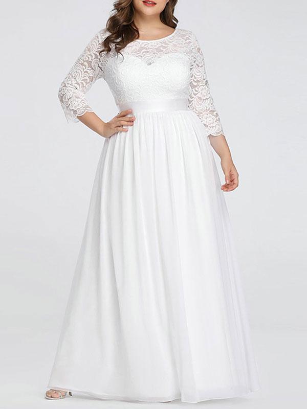 Simple Wedding Dresses Lace Chiffon Floor Length 3/4 Length Sleeves Sash  Jewel Neck Plus Size Beach Bridal Gowns