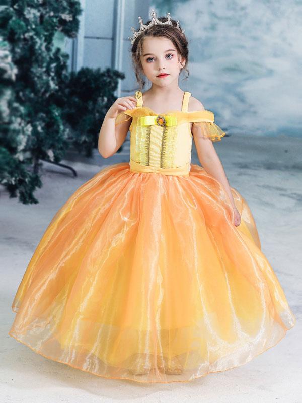 Nouvel Enfants Princesse Robe Belle Et Bête Belle Robe Jaune Costumes RQ-15