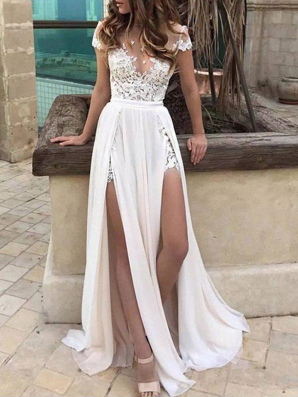 Vestiti Da Sposa Spiaggia.Abiti Da Sposa Boho 2020 Chiffon Profondo Scollo A V Manica Corta