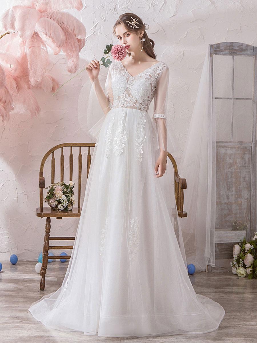 new styles online store official supplier Robe de mariée simple A-ligne col en V manches longues en dentelle Applique  Tulle Robes de Mariée