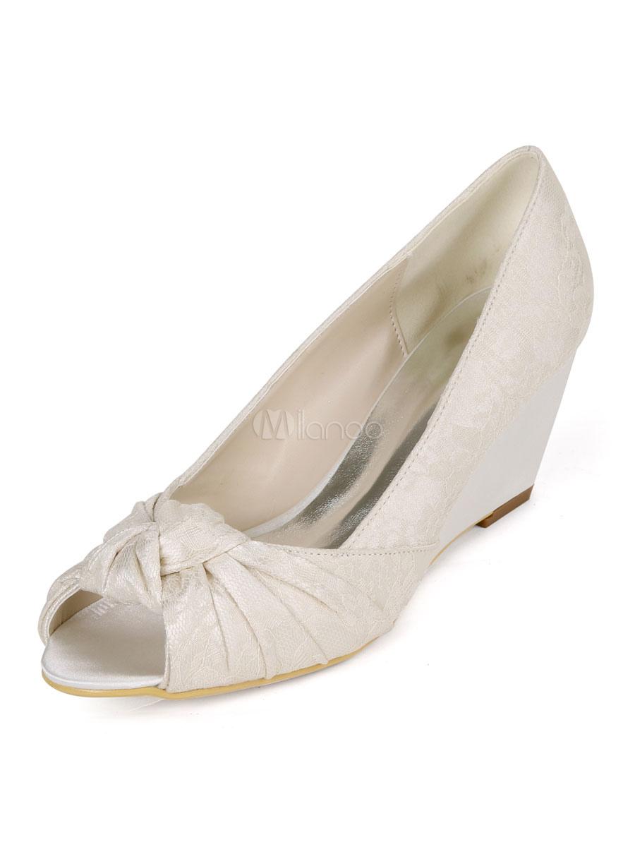 negozio online fornitore ufficiale scarpe temperamento Scarpe da sposa da donna in pizzo con punta aperta con zeppa tacco ...