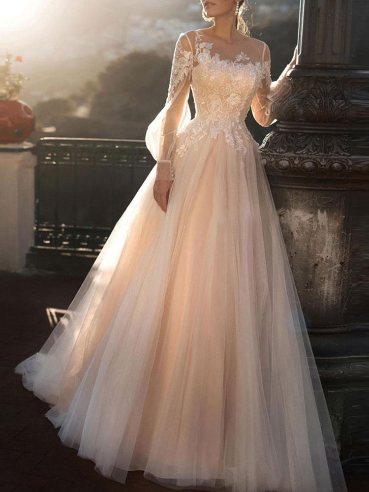 Wedding Dresses 2020 A Line Illusion Neck Long Sleeve Floor Length Tulle Pleated Bridal Dress With Train Milanoo Com