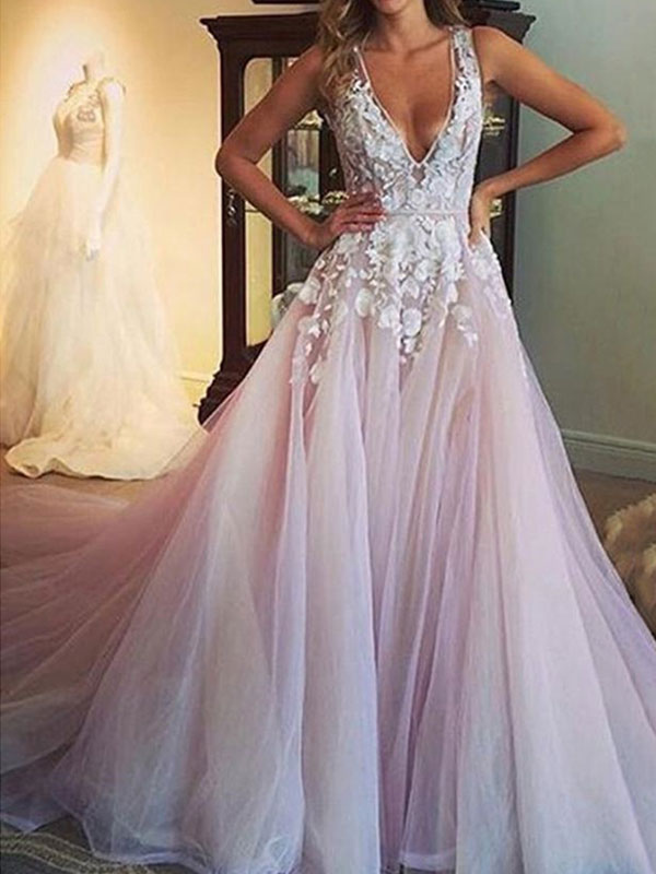 Wedding Dress 2020 Deep V Neck Sleeveless Lace Flora Floor Length Tulle Bridal Gowns Milanoo Com