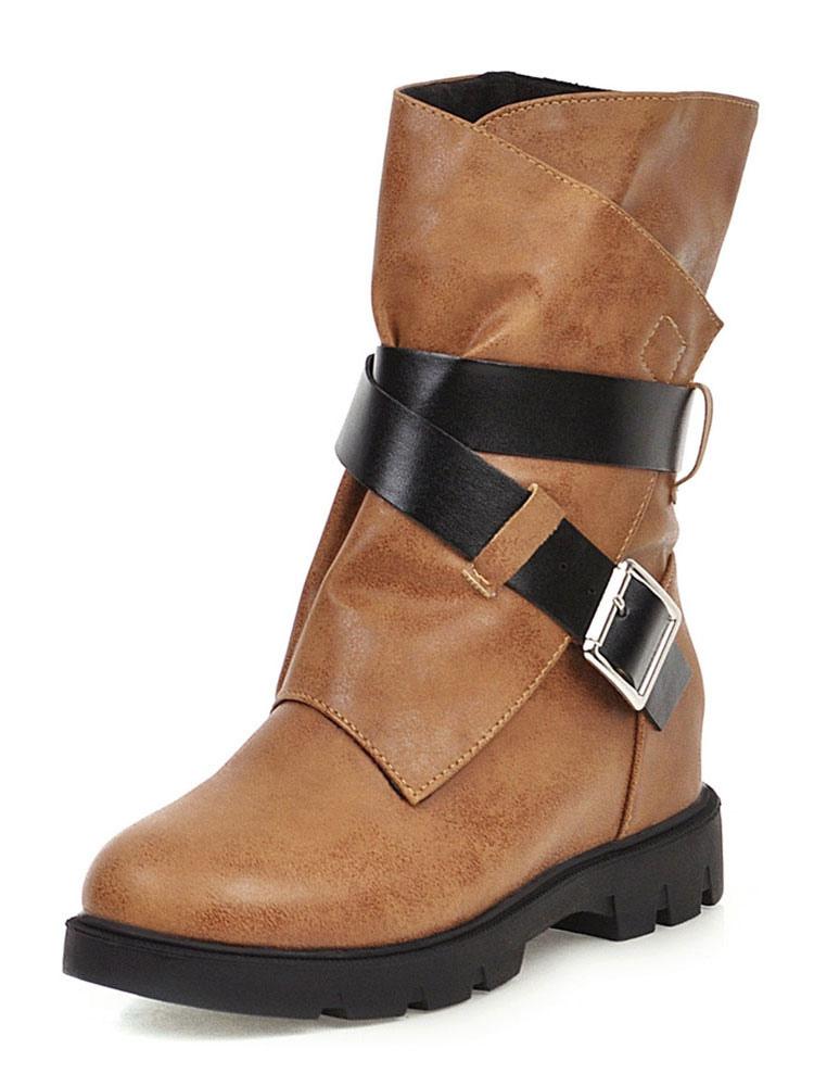 Womens Mid Calf Boots Flat Winter Boots