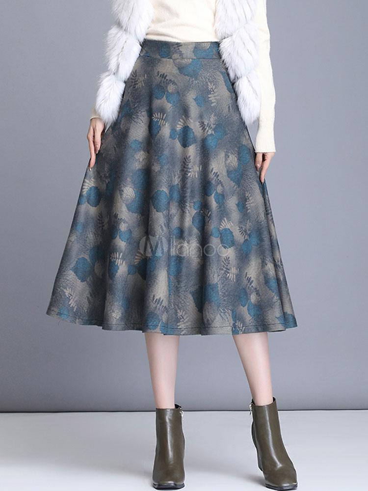 Falda Para Mujer Cadenas Grises Estampado Floral Hasta La Rodilla Cintura Levantada Capas Otono E Invierno Pantalones De Mujer Milanoo Com