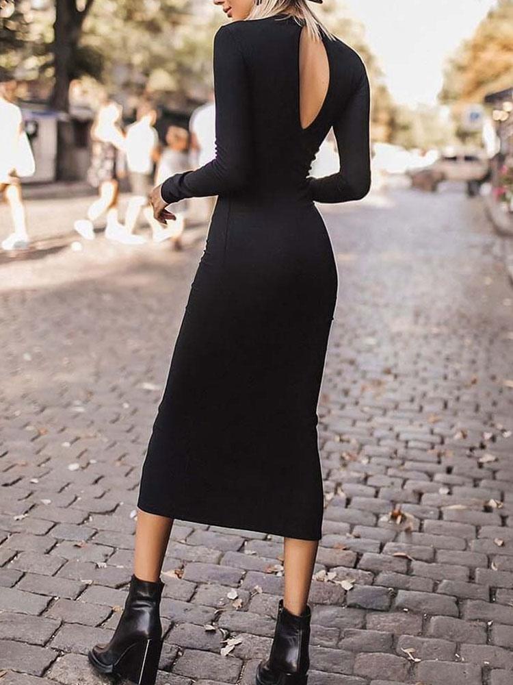 Robe Moulante Noire Fendue Sur Le Devant Robe Mi Longue Robe Fourreau Milanoo Com