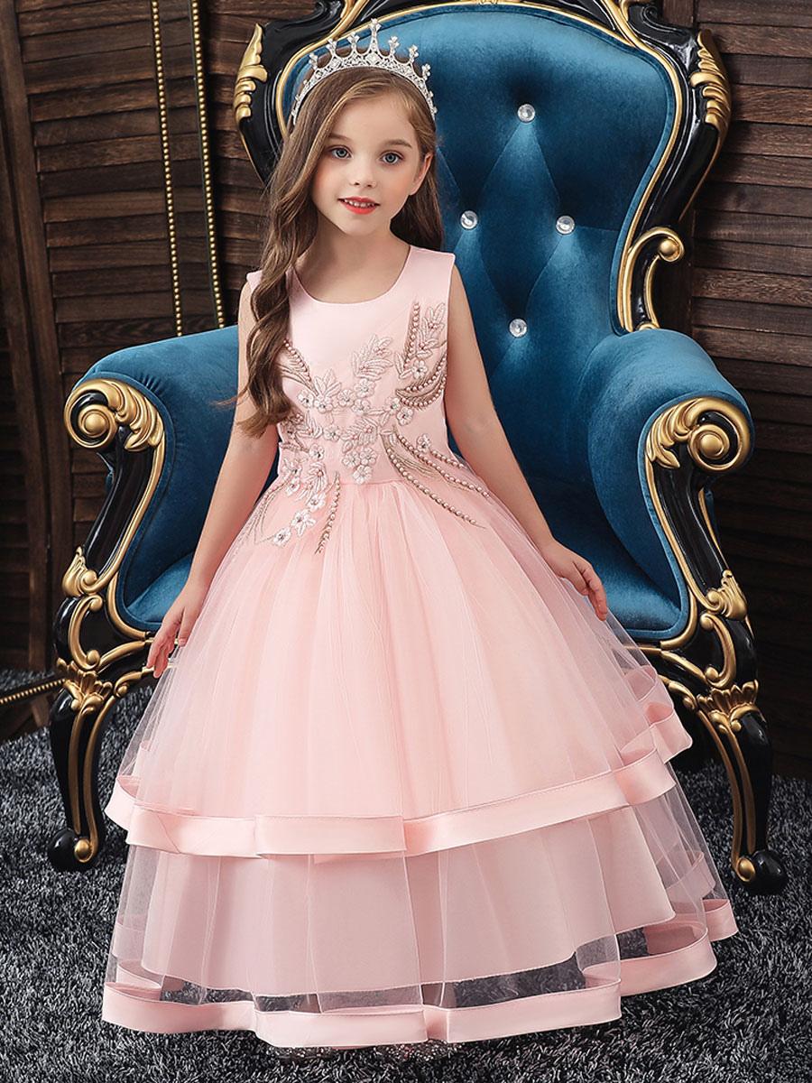 Blumenmädchenkleider Jewel Neck Polyester Baumwolle Ärmellos Knöchellang  Prinzessin Silhouette Perlen Formale Kinder Festzug Kleider