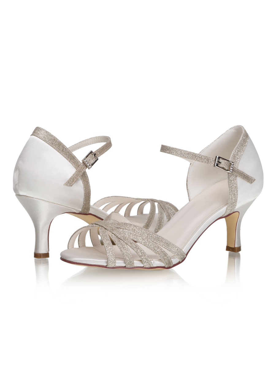Wedding Shoes Sequined Strappy Sandals Kitten Heel 2 6 Bridal