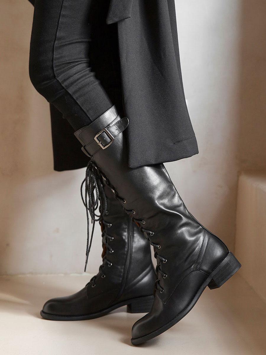 Knee High Boots Womens Black Cowhide