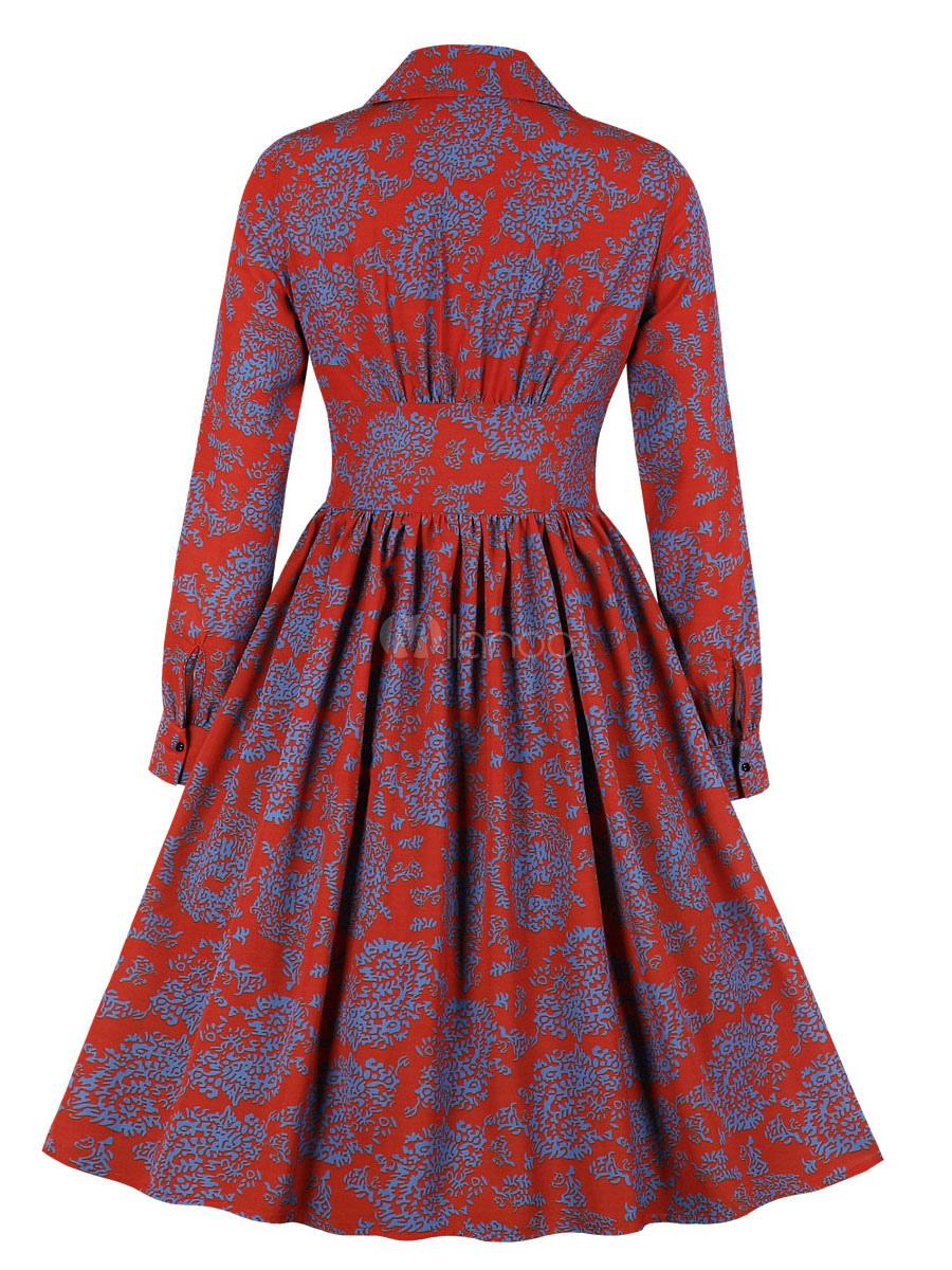 vintage kleider mit farbblock 50er jahre mode rot polyester rockabilly  kleid langarm kleider v-ausschnitt knielang