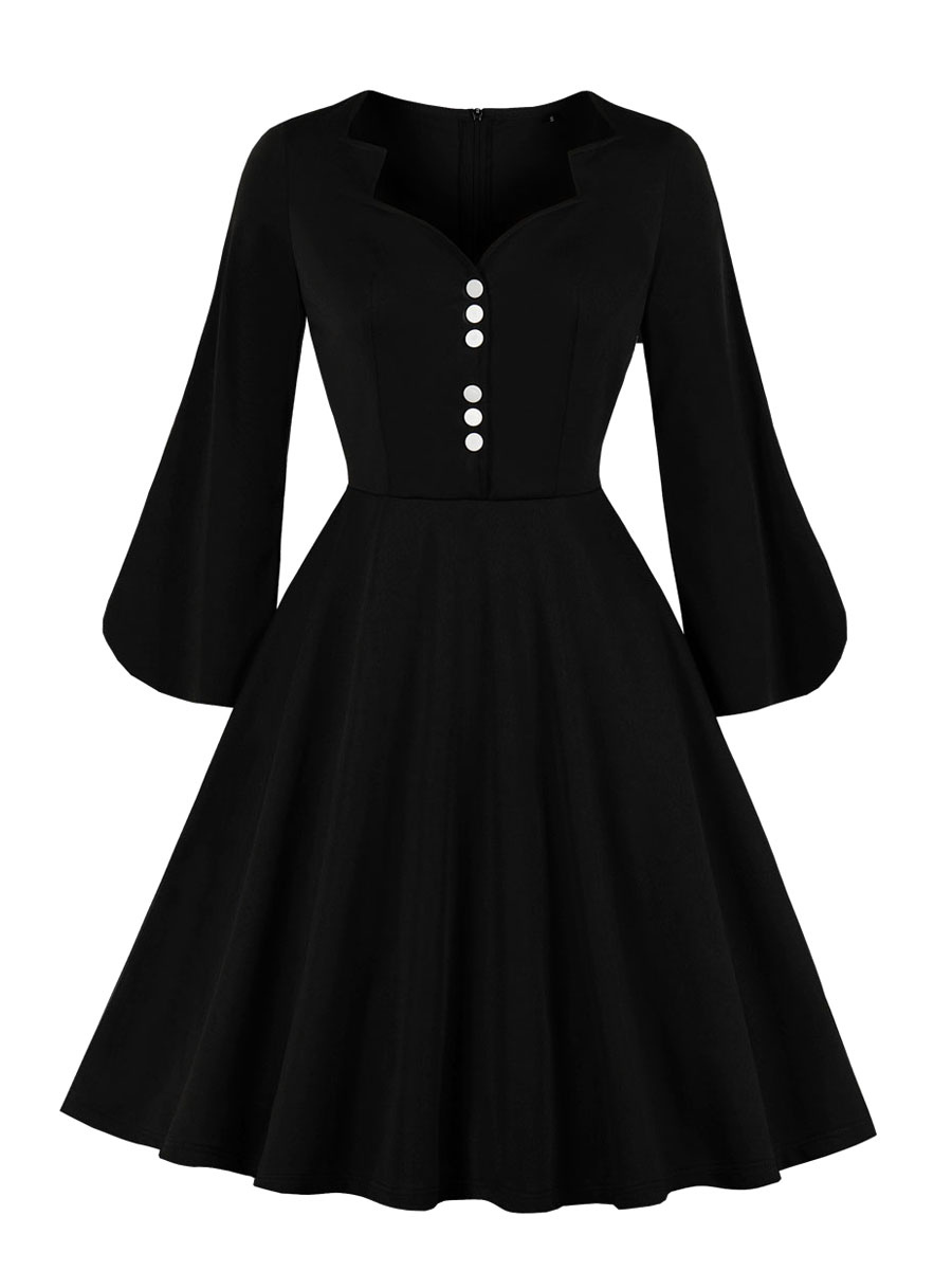 Vintage Dress Womens Black Long Puff Sleeve 17s Rockabilly Swing Retro  Dresses
