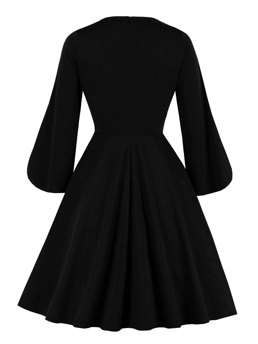 vintage kleider schwarz langarm 50er jahre mode rockabilly kleid  v-ausschnitt kleider polyester knielang und sommer und winter und frühling
