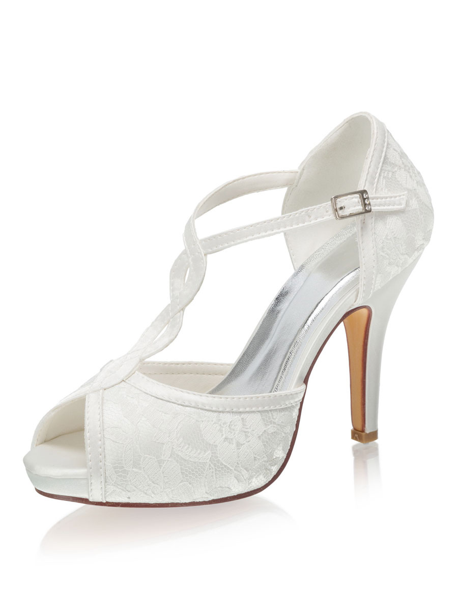 Peep Toe Platform T Type Wedding Shoes Stiletto Heel Bridal Shoes