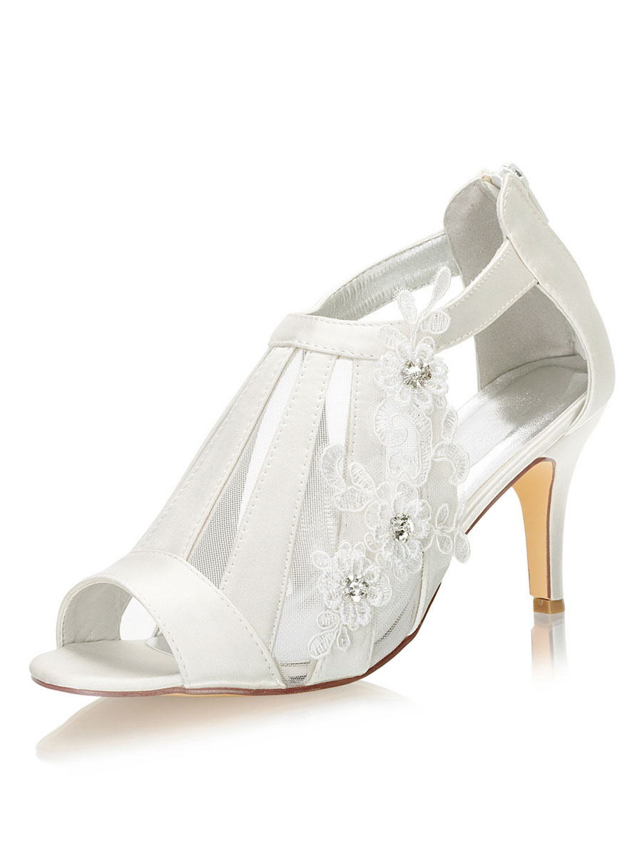 Wedding Shoes Peep Toe Sandals Stiletto Heel Bridal Shoes