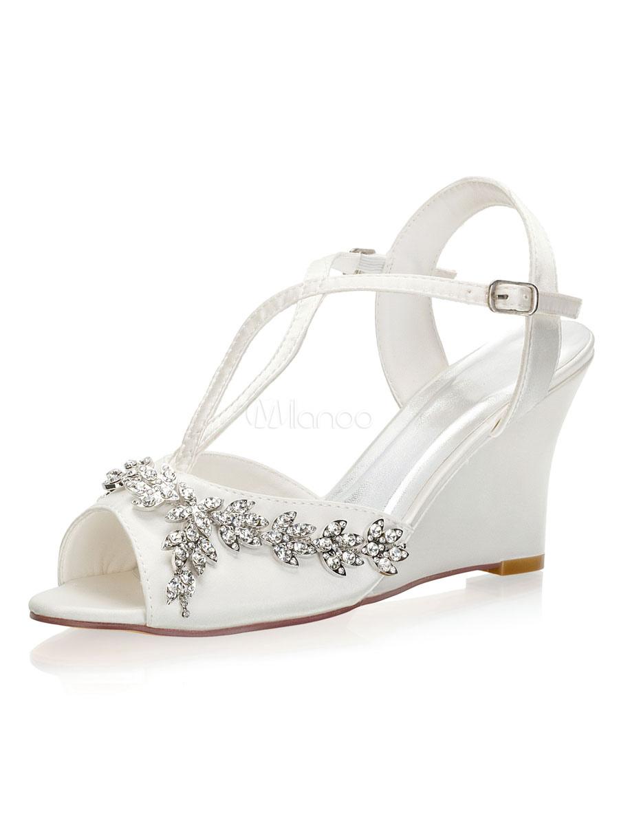 dove acquistare selezione premium data di uscita: Scarpe da sposa con tacco a zeppa Strass Peep Toe Sandali tipo T ...