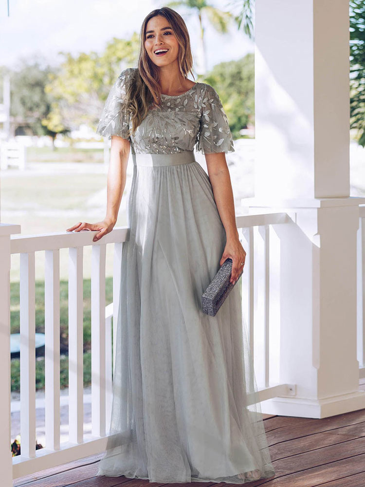 Plus Size Prom Dress A Line Jewel Neck Chiffon Short Sleeves Floor Length  Lace Party Dresses