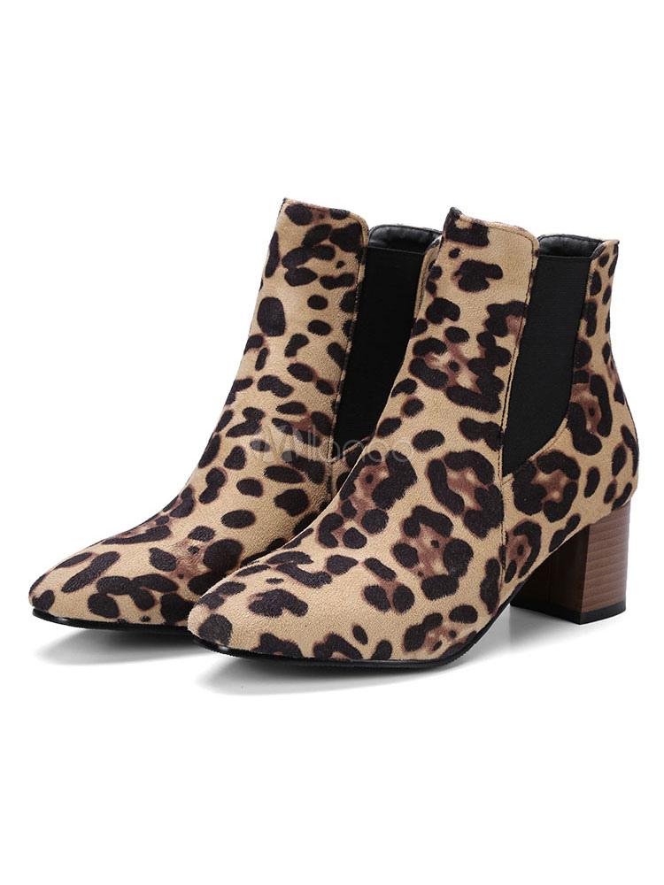 Women Leopard Print Chelsea Boots