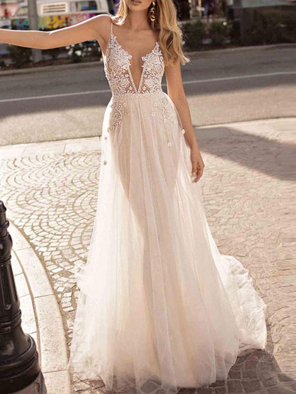 Boho Wedding Dress 2020 A Line V Neck Straps Sleeveless Tulle Beach Bridal Gowns Milanoo Com