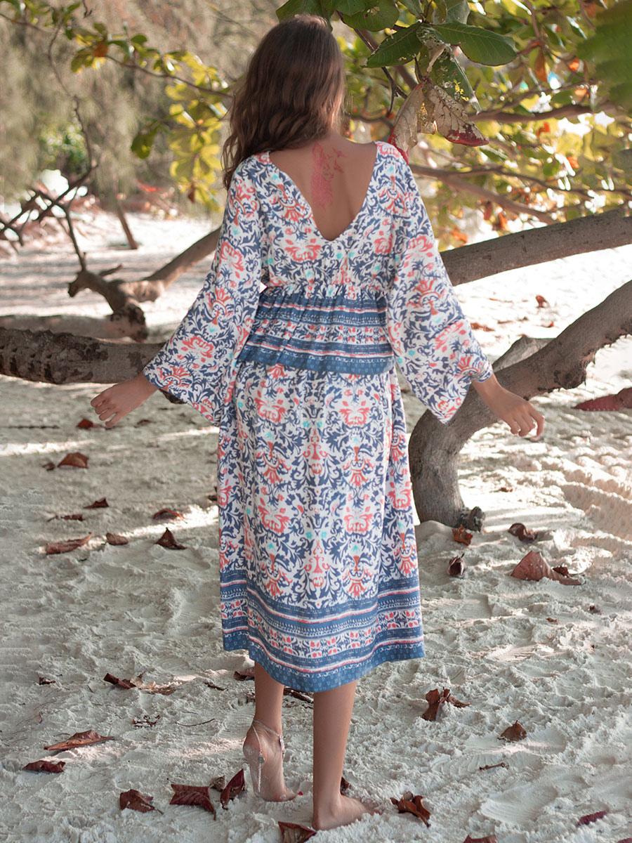 boho kleid mit v-ausschnitt und langen Ärmeln geometrisches rückenfreies  sommerkleid