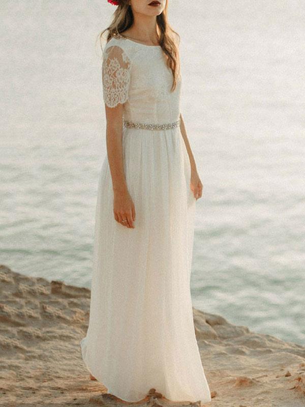 Robe de mariée simple A line cou rond dentelle