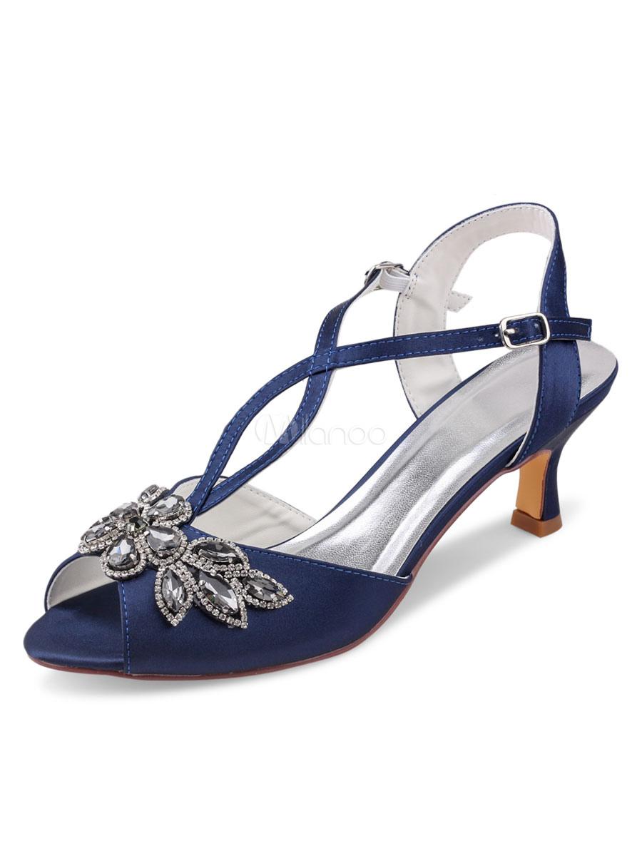 Wedding Shoes Dark Navy Satin