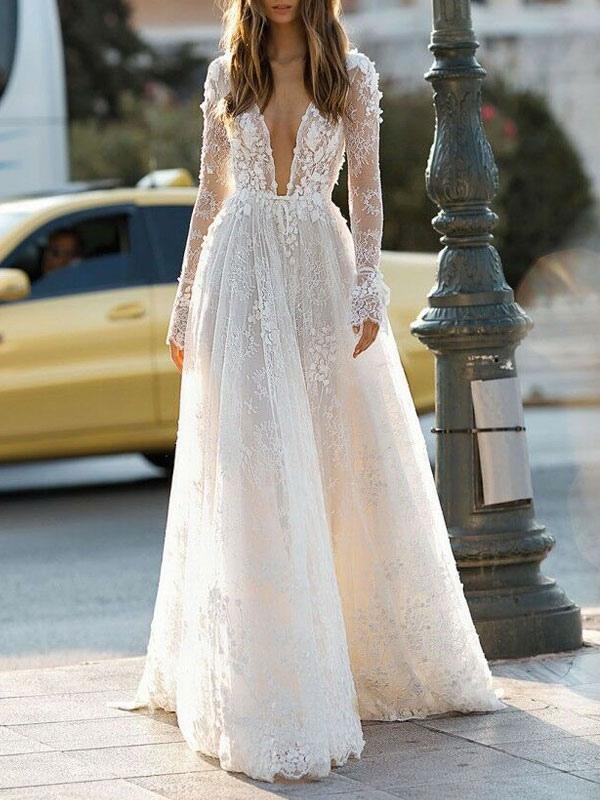 Simple Wedding Dress A Line V Neck Long Sleeves Lace Floor Length Bridal Gowns Milanoo Com