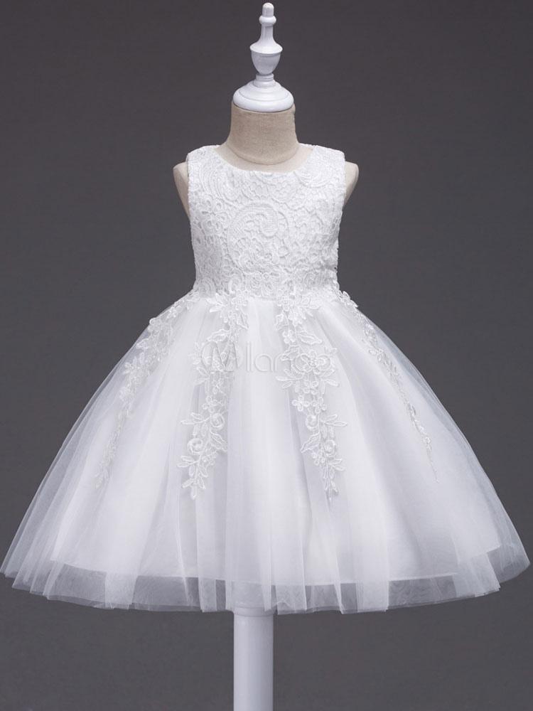 Vestidos Blancos De Niña 2019 De Las Flores De Encaje Apliques Vestido Del Tutú Arcos Decoración A La Rodilla Vestidos De Fiesta Cena Formal