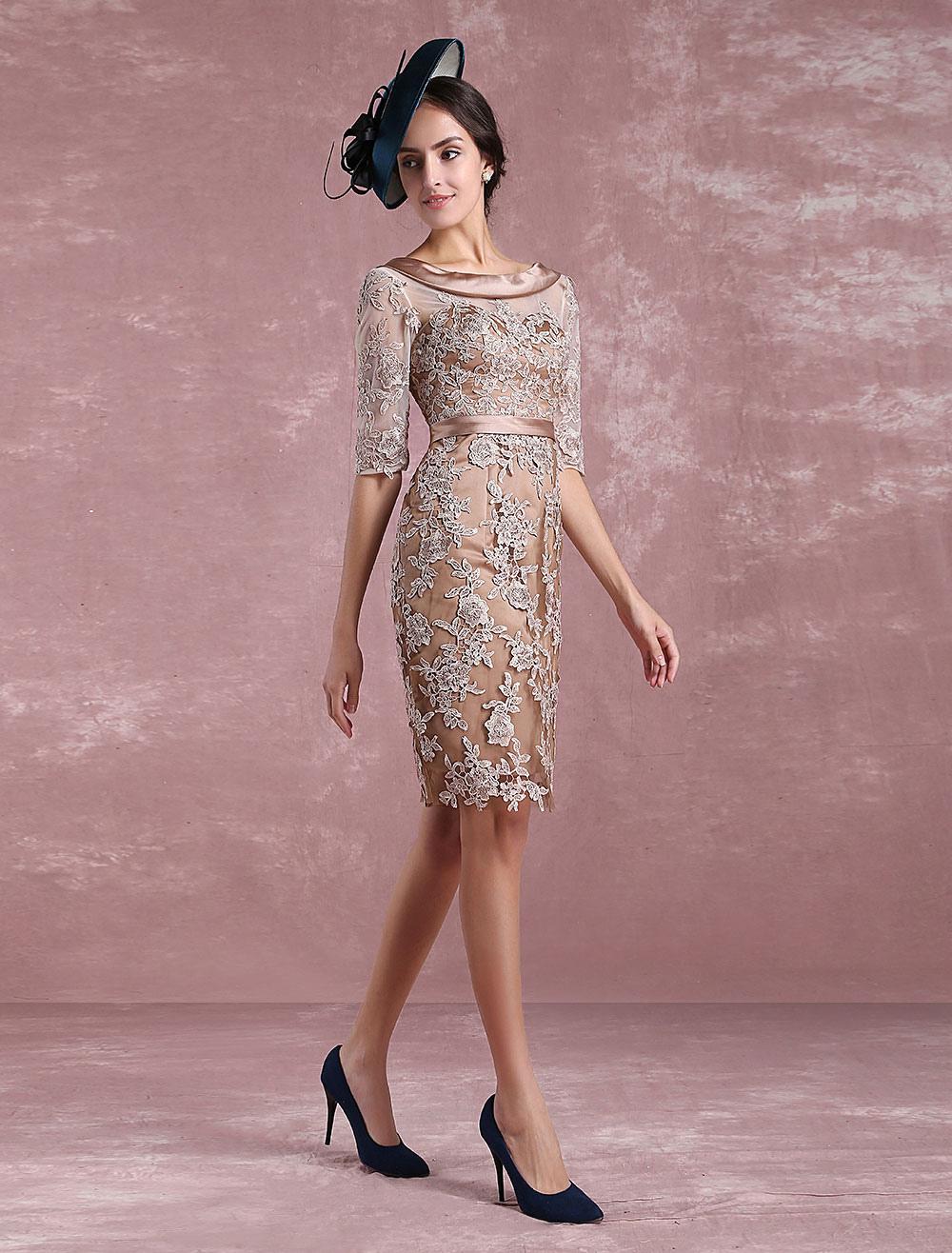 Short Mother S Dress Taupe Lace Applique Bodycon Cocktail Dress Illusion Half Sleeve Satin Sash Knee Length Wedding Guest Dresses Milanoo