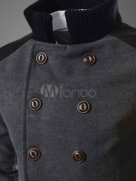 d59c4e991e9d ... Men Pea Coat Grey 2019 Trench Coat Turndown Collar Long Sleeve Double  Breasted Slim Fit Winter ...