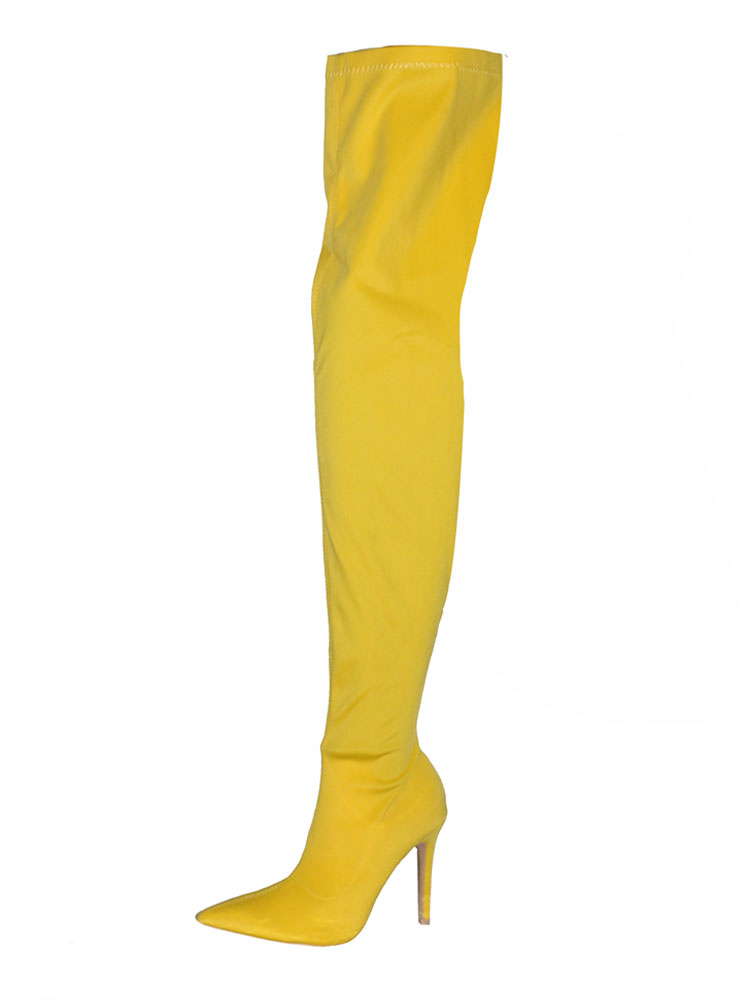 a1cefafedf3 ... Women Stretch Boots High Heel Over Knee Boots Yellow Pointed Toe Thigh  High Boots-No ...